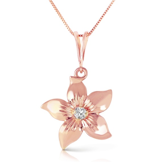 Galaxy Gold Products Jewelry - GOLD FLOWER NECKLACE WITH NATURAL DIAMOND